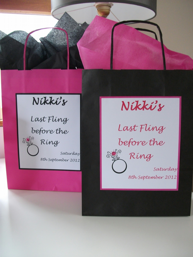 Handmade Personalised Hen Night Party Gift Bags X 5