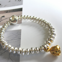 Stadshuset: sterling silver and gold vermeil bracelet