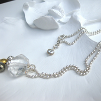Sterling silver, Rock crystal, pyrite and gold vermeil necklace