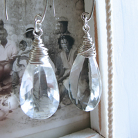 Klara- Sterling silver wire wrapped clear faceted quartz briolette earrings