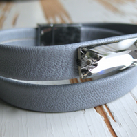 Grey eco leather and smoky grey sparkling crystal double wrap bracelet