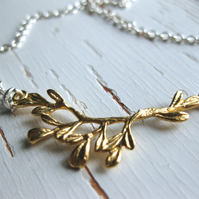 Kvist: gold vermeil branch and sterling silver necklace