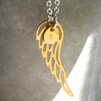 ängel gold: Personalised necklace of gold vermeil angel wing