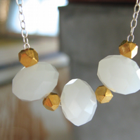 trillingar: Milky glass bead and gold vermeil necklace