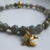 Labradorite bracelet with tiny gold vermeil bird