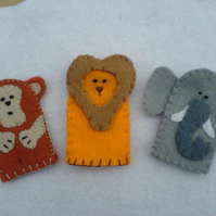Set of 3 African finger puppets