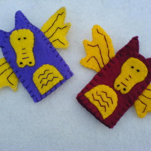 Set of Dragon finger puppets