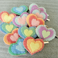 Pair of Pastel Heart Hairclips (non slip)