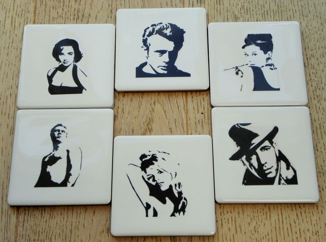 Set of 6 Movie Icons Coasters