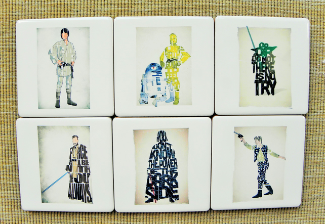 Set of 6 Star Wars Art Work Coasters