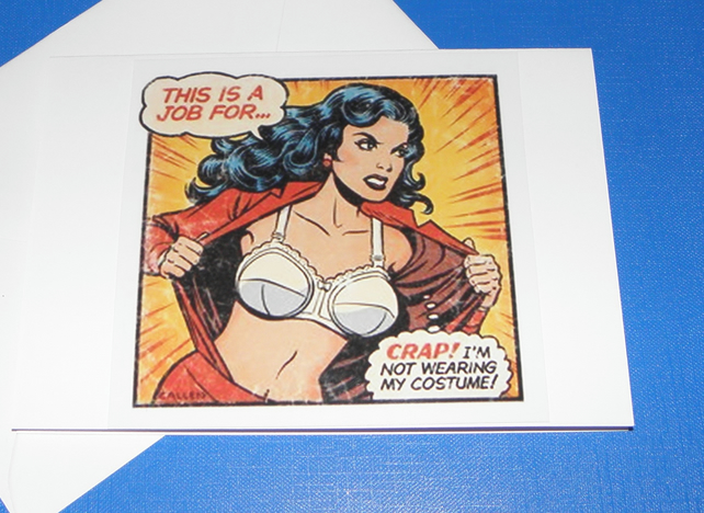 Wonder Woman Mucks Up Greeting Card