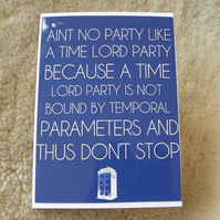 Dr Who Time Lord Party Card