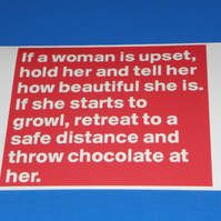 If A Woman Is Upset Throw Chocolate at Her Card