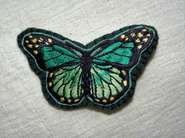 Large Felt Butterfly Hair Clip - Green