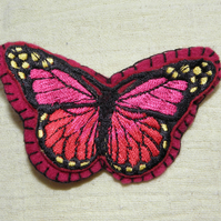 Large Felt Butterfly Hair Clip - Magenta & Hot Pink