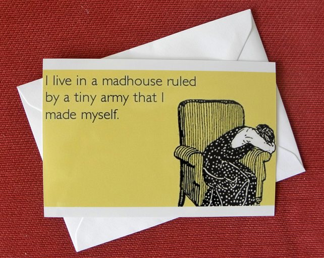 I Live in A Madhouse Blank Greeting Card