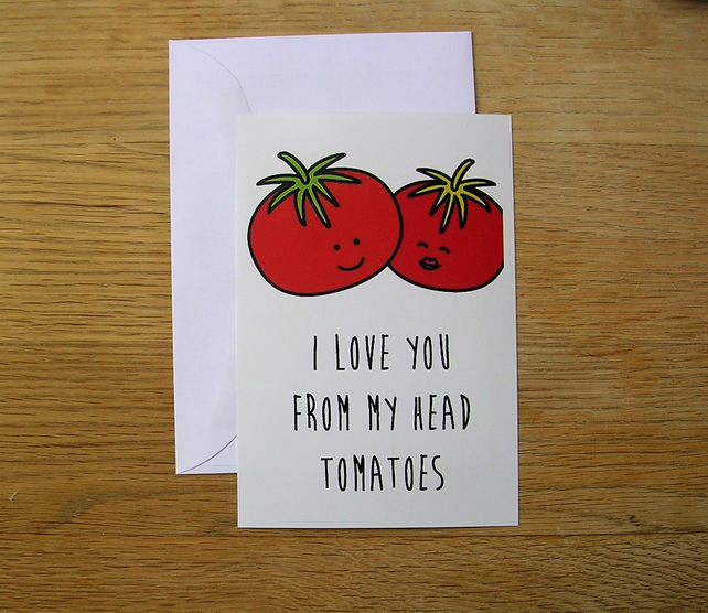 From My Head Tomatoes Blank Greeting Card