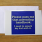 Parenting Handbook Greeting Card