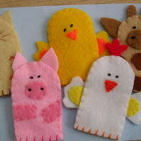 Set of 5 Farmyard finger puppets