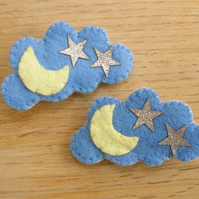 Pair of Moon and Star Hairclips