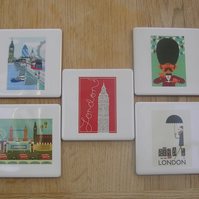 Set of 5 London Themed Coasters