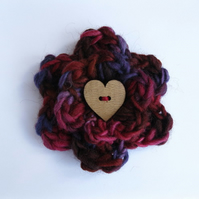 Flower Brooch Mulberry Colours Heart Button Centre