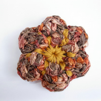 Golden Autumn Flower Brooch Embroidery Centre