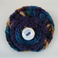 Multi Hue Deep Blue, Purple and Gold Layered Brooch
