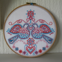 SALE - Folk Inspired Valentines Love Birds and Hearts Textile Artwork