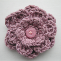 Sugar Pink Layered Crochet Flower Corsage