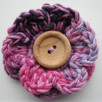 Multi Pink and Purple Striped Crochet Flower Brooch