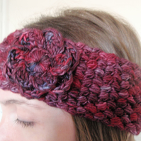 Berry Red Crochet Head Band Earwarmer