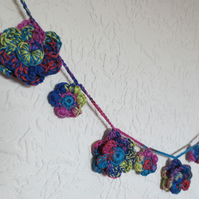 Summer Carnival Flower Garland - Crochet Bunting - Pink Blue Yellow Orange