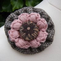 For Purchase by F.H. Only - Tweed Textile Brooch