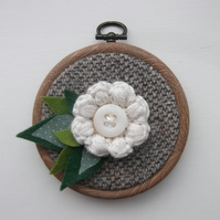 Ivory Flower Hoop Miniature - For Purchase by DB Only