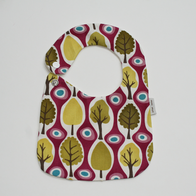 hand made Cotton baby dribble bib(trees)