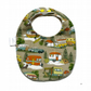 Premium cotton baby dribble bib (camp site)