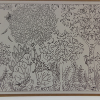 Mindfulness Colouring Card Made From Joahanna Basford's Postcards.