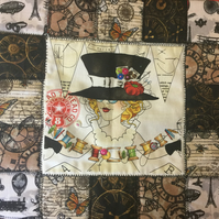Steam Punk Style Patchwork Cushion Cover - Girl with Hat