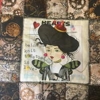 Steam Punk Style Patchwork Cushion Cover - Hearts and Butterflies