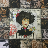 Steam Punk Style Patchwork Cushion Cover - Corset and Cotton Reels