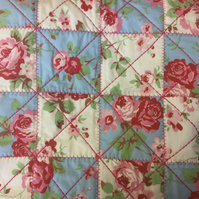 Patchwork Vintage Style  Cushion Cover - Blue & White Roses
