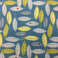 Fabric - Leaves and Ladybirds on Blue