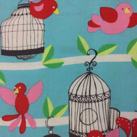Fabric - Pink Red Birds on Blue