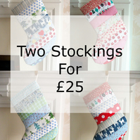 Pair of Quilted Stripy Stockings