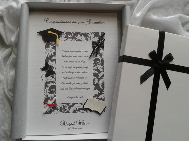 Congratulations Card For Graduation or Special Achievements Personalised & Boxed