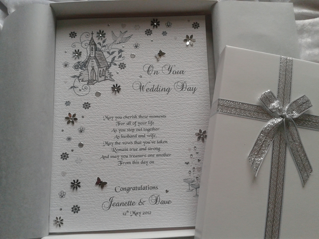 Luxury Wedding Day Celebration Card Handmade Pe