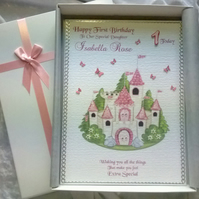 Beautiful Princess Birthday Card Handmade Personalised Daughter Granddaughter