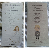 Personalised Christening Confirmation Day Dedication Day Keepsake Card Boy Girl