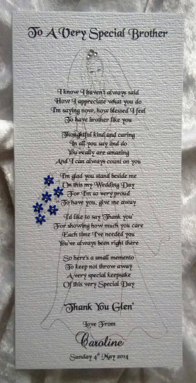 Wedding Gift Thank You Poem : Thank You For Giving Me Away - Personalised Wedding Keepsake Thankyou ...